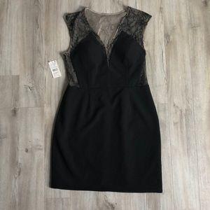 Loft Black and Tan lined black dress